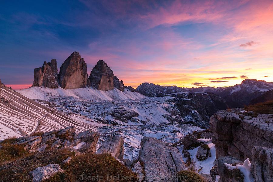 Tre Cime, Dolomites, at sunset