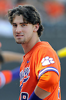 Right fielder Steven Duggar (9) of the Clemson Tigers in a game against the Wofford College Terriers on Tuesday, May 5, 2015, at Russell C. King Field in Spartanburg, South Carolina. Wofford won, 17-9. (Tom Priddy/Four Seam Images)