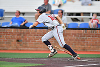 Danville Braves first baseman Griffin Benson (16) runs to first base during a game against the  Johnson City Cardinals at TVA Credit Union Ballpark on July 23, 2017 in Johnson City, Tennessee. The Cardinals defeated the Braves 8-5. (Tony Farlow/Four Seam Images)