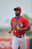 Buffalo Bisons right fielder Teoscar Hernandez (3) jogs to the dugout during a game against the Indianapolis Indians on August 17, 2017 at Coca-Cola Field in Buffalo, New York.  Buffalo defeated Indianapolis 4-1.  (Mike Janes/Four Seam Images)