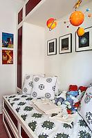 stuffed animals in the bedroom