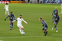 ST PAUL, MN - NOVEMBER 22: Jack Price #19 of Colorado Rapids controls the ball during a game between Colorado Rapids and Minnesota United FC at Allianz Field on November 22, 2020 in St Paul, Minnesota.