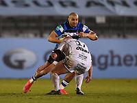 19th February 2021; Recreation Ground, Bath, Somerset, England; English Premiership Rugby, Bath versus Gloucester; Alex Seville of Gloucester tackles Jonathan Joseph of Bath