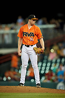 Richmond Flying Squirrels relief pitcher Will LaMarche (33) looks in for the sign during a game against the Trenton Thunder on May 11, 2018 at The Diamond in Richmond, Virginia.  Richmond defeated Trenton 6-1.  (Mike Janes/Four Seam Images)