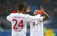 06.02.2018, Football DFB Pokal 2017/2018,   SC Paderborn 07 - FC Bayern Muenchen, in Benteler-Arena Paderborn. celebration   Corentin Tolisso (Bayern Muenchen) and Arturo Vidal (Bayern Muenchen)  *** Local Caption *** © pixathlon<br /> <br /> +++ NED + SUI out !!! +++<br /> Contact: +49-40-22 63 02 60 , info@pixathlon.de