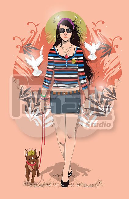 Illustration of fashionable woman walking with cute dog