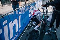 Dominik Bieler (SUI)<br /> <br /> post-race battlefield in the finish zone<br /> <br /> MEN JUNIOR INDIVIDUAL TIME TRIAL<br /> Hall-Wattens to Innsbruck: 27.8 km<br /> <br /> UCI 2018 Road World Championships<br /> Innsbruck - Tirol / Austria