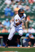 Baltimore Orioles center fielder Cedric Mullins (3) runs to first base during a Grapefruit League Spring Training game against the Tampa Bay Rays on March 1, 2019 at Ed Smith Stadium in Sarasota, Florida.  Rays defeated the Orioles 10-5.  (Mike Janes/Four Seam Images)