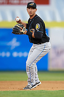 Akron RubberDucks second baseman Mark Mathias during a game against the Binghamton Rumble Ponies on May 12, 2017 at NYSEG Stadium in Binghamton, New York.  Akron defeated Binghamton 5-1.  (Mike Janes/Four Seam Images)