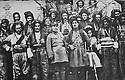Iran 1930 Simko , 4th from right, with Khorshid Agha Herki and his army  visiting in Oshnavieh an Iranian official  <br /> Iran 1930  Simao, 4 eme a droite, accompagne de Khoshid Agha Herki et de son armee, recu par un officiel iranien a Oshnaviyeh<br /> ئیران سالی 1930 شنو ، له لای راسته وه نه فه ری چواره م سمکو که لای ئه فسه ریکی ئه رتشی ئیرانی پیشوازی لی کرا ، له گه ل خورشید آغای هه رکی به له شکره که ی .