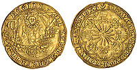 BNPS.co.uk (01202 558833)<br /> Pic: Spink/BNPS<br /> <br /> Pictured: Elizabeth I, Rose Noble or 'Ship' Ryal (struck 1 June 1587 - 31 January 1590) had an estimated value of £60,000<br /> <br /> The family of a late steeplejack are celebrating today after his incredible collection of rare coins sold for a whopping £2.8m.<br /> <br /> The 52 coins from the Tudor and Stuart periods were amassed by prolific collector Horace Hird over 50 years.<br /> <br /> He died in 1973 and it had been presumed he had sold all his coins while he was still alive. But a descendant found dozens of them still wrapped with their paperwork dating back to the 1960s.