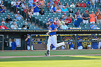 Round Rock Express center fielder Jared Hoying (30) goes around after hitting solo homer at the bottom of first during pacific coast league baseball game, Saturday August 16, 2014 in Round Rock, Tex. Tacoma Rainiers win game one of the best of four series 8-7. (Mo Khursheed/TFV Media via AP Images)