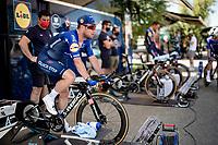 Mark Cavendish (GBR/Deceuninck - Quick Step) warming up for the iTT<br /> <br /> 91st Baloise Belgium Tour 2021 (BEL/2.Pro)<br /> Stage 2 (ITT) from Knokke-Heist to Knokke-Heist (11.2km)<br /> <br /> ©kramon