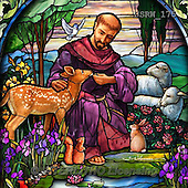 Randy, EASTER RELIGIOUS, OSTERN RELIGIÖS, PASCUA RELIGIOSA, paintings+++++SG-St-Francis-detail,USRW175,#ER# church window,stained glass