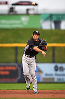 Wisconsin Timber Rattlers shortstop Blake Allemand (6) throws to first during the first game of a doubleheader against the Quad Cities River Bandits on August 19, 2015 at Modern Woodmen Park in Davenport, Iowa.  Quad Cities defeated Wisconsin 3-2.  (Mike Janes/Four Seam Images)