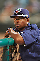 Fort Myers Miracle pitcher Randy Rosario (25) in the dugout during a game against the Brevard County Manatees on April 13, 2016 at Hammond Stadium in Fort Myers, Florida.  Fort Myers defeated Brevard County 3-0.  (Mike Janes/Four Seam Images)