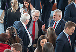 Wales's national rugby team who won both the Six Nations and the Grand Slam are welcomed to the National Assembly for Wales Senedd building in Cardiff Bay today for a reception inside before the  public celebration event outside. Wales Coach Warren Gatland chats to Welsh Assembly member and Deputy Minister for Culture, Sport and Tourism Dafydd Elis-Thomas.