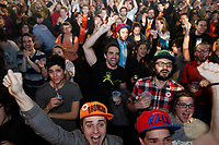 April 7, 2014 -  Quebec Solidaire gathering at Olympia theatre on election night. <br /> <br /> Photo : Alexa Enlow Malky
