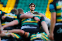 13th March 2021; Franklin's Gardens, Northampton, East Midlands, England; Premiership Rugby Union, Northampton Saints versus Sale Sharks; AJ MacGinty of Sale Sharks waits for a scrum to pack down