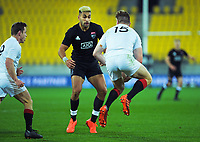 Jordie Barrett runs at Rieko Ioane during the rugby match between North and South at Sky Stadium in Wellington, New Zealand on Saturday, 5 September 2020. Photo: Dave Lintott / lintottphoto.co.nz