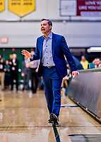 23 January 2019: UMBC Retrievers Head Coach Ryan Odom gives direction to his players during first half action against the University of Vermont Catamounts at Patrick Gymnasium in Burlington, Vermont. The Retrievers handed the Catamounts their first America East loss of the season 74-61. Mandatory Credit: Ed Wolfstein Photo *** RAW (NEF) Image File Available ***