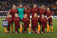 Calcio, Europa League, Gguppo E: Roma vs Austria Vienna. Roma, stadio Olimpico, 20 ottobre 2016.<br /> Roma's players, back row, from left, Kostas Manolas, Alisson, Gerson, Federico Fazio, Juan Jesus, Alessandro Florenzi; front row, from left, Juan Manuel Iturbe, Radja Nainggolan, Francesco Totti, Leandro Paredes, and Stephan El Shaarawy pose prior to the start of the Europa League Group E soccer match between Roma and Austria Wien, at Rome's Olympic stadium, 20 October 2016. The game ended 3-3.<br /> UPDATE IMAGES PRESS/Isabella Bonotto