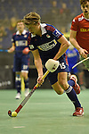 Berlin, Germany, January 31: Benjamin Wess #15 of Rot-Weiss Koeln in action during the 1. Bundesliga Herren Hallensaison 2014/15 semi-final hockey match between Rot-Weiss Koeln (dark blue) and Club an der Alster (red) on January 31, 2015 at the Final Four tournament at Max-Schmeling-Halle in Berlin, Germany. Final score 4-3 (2-2). (Photo by Dirk Markgraf / www.265-images.com) *** Local caption ***