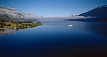 """The tourist steam ship """"Earnslaw"""" on Lake Wakatipu in Otago New Zealand."""
