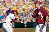 Florida State's Johnson, Sherman 6846.jpg against TCU at the College World Series on June 23rd, 2010 at Rosenblatt Stadium in Omaha, Nebraska.  (Photo by Andrew Woolley / Four Seam Images)