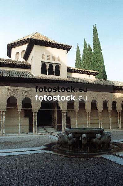 Court of the Lions in the Alhambra Palace<br /> <br /> Patio de los Leones en el Palacio de Alhambra<br /> <br /> Löwenhof im Alhambra Palast<br /> <br /> 3919 x 2592 px<br /> Original: 35 mm slide transparancy