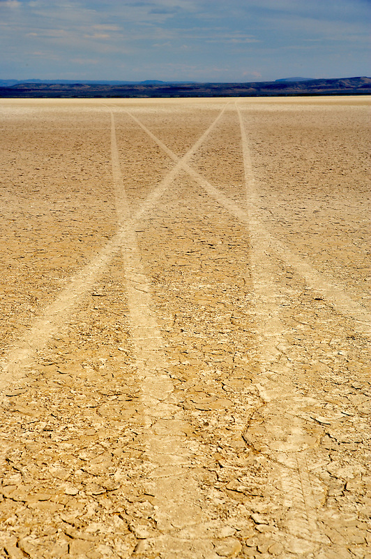 Alvord Desert with car tracks. Oregon