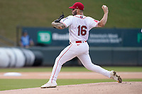 Pitcher Yusniel Padrom_Artiles (16) of the Greenville Drive in a game against the Asheville Tourists on Tuesday, August 31, 2021, at Fluor Field at the West End in Greenville, South Carolina. (Tom Priddy/Four Seam Images)