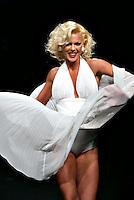Roma 27/1/2004 <br /> Alta Moda Roma - Haute Couture - Fashion<br /> Dress collection of stylist Laura Pieralisi, collection inspired by Marylin Monroe.<br /> In this picture the showgirl Matilde Brandi.<br /> Foto Andrea Staccioli Insidefoto