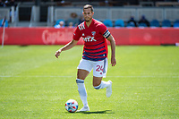 SAN JOSE, CA - APRIL 24: Matt Hedges #24 of FC Dallas controls the ball during a game between FC Dallas and San Jose Earthquakes at PayPal Park on April 24, 2021 in San Jose, California.