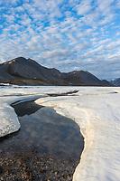 Aufeis on the Ribdon River. Arctic National Wildlife Refuge, Brooks Range, Arctic Alaska.