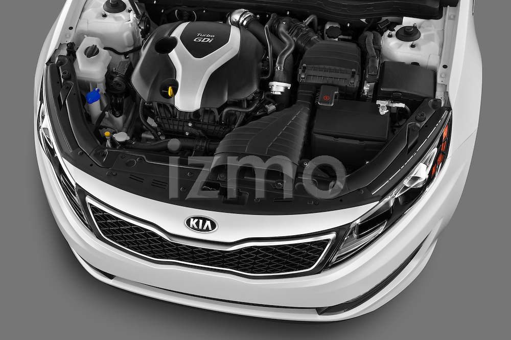 High angle engine detail of a 2013 Kia Optima SXL