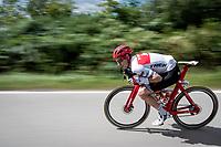 speeding Michael Gogl (AUT/Trek-Segafredo)<br /> <br /> 60th Grand Prix de Wallonie 2019<br /> 1 day race from Blegny to Citadelle de Namur (BEL / 206km)<br /> <br /> ©kramon