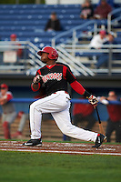 Batavia Muckdogs outfielder Yuniel Ramirez (43) at bat during a game against the Williamsport Crosscutters on August 27, 2015 at Dwyer Stadium in Batavia, New York.  Batavia defeated Williamsport 3-2.  (Mike Janes/Four Seam Images)