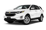 Stock pictures of low aggressive front three quarter view of a 2020 Chevrolet Equinox LT 5 Door SUV