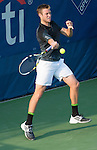 Jack Sock (USA) takes the first set from Michael Berrer (GER) at the CitiOpen in Washington, D.C., Washington, D.C.  District of Columbia on July 29, 2014.