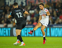 8th October 2021;  Swansea.com Stadium, Swansea, Wales; United Rugby Championship, Ospreys versus Sharks; Boeta Chamberlain of Cell C Sharks chips the ball over the defence