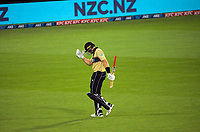 NZ'ds Martin Guptill walks off after being dismissed for 43 during the third international men's T20 cricket match between the New Zealand Black Caps and Australia at Sky Stadium in Wellington, New Zealand on Wednesday, 3 March 2021. Photo: Dave Lintott / lintottphoto.co.nz