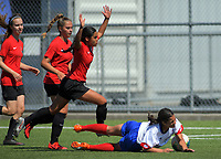 Action from the 2019 National Age Group Tournament Under-16 Girls football match between Auckland and Mainland at Memorial Park in Petone, Wellington, New Zealand on Friday, 13 December 2019. Photo: Dave Lintott / lintottphoto.co.nz
