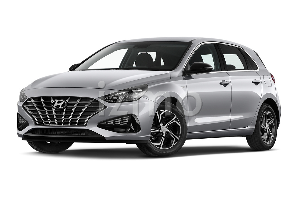 Stock pictures of low aggressive front three quarter view of 2020 Hyundai i30 Techno 5 Door Hatchback Low Aggressive