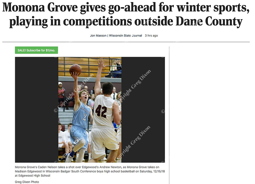 Monona Grove plans to play winter sports outside of Dane County, Wisconsin despite coronavirus / COVID concerns   Monona Grove's Caden Nelson takes a shot over Edgewood's Andrew Newton, as Monona Grove takes on Madison Edgewood in Wisconsin Badger South Conference boys high school basketball on Saturday, 12/15/18 at Edgewood High School   Wisconsin State Journal article online 12/30/20 at https://madison.com/wsj/sports/high-school/basketball/boys/monona-grove-gives-go-ahead-for-winter-sports-playing-in-competitions-outside-dane-county/article_74793fbb-79dc-5de2-8e71-ddf8f7f4c10f.html