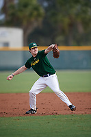 Nick Stodgell (22), from Rochester, New  York, while playing for the Athletics during the Baseball Factory Pirate City Christmas Camp & Tournament on December 30, 2017 at Pirate City in Bradenton, Florida.  (Mike Janes/Four Seam Images)