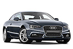 Low aggressive passenger side front three quarter view of a 2012 Audi A5 S Line Coupe.