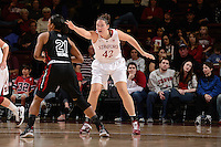 STANFORD, CA - NOVEMBER 26: Sarah Boothe of Stanford women's basketball on defense in a game against South Carolina on November 26, 2010 at Maples Pavilion in Stanford, California.  Stanford topped South Carolina, 70-32.