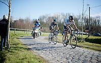 rainbow men Peter Sagan (SVK/Tinkoff) & Michal Kwiatkowski (POL/SKY)<br /> in the lead over the Varenstraat cobbles<br /> <br /> E3 - Harelbeke 2016