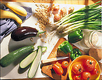 preparing fresh vegetables for cooking